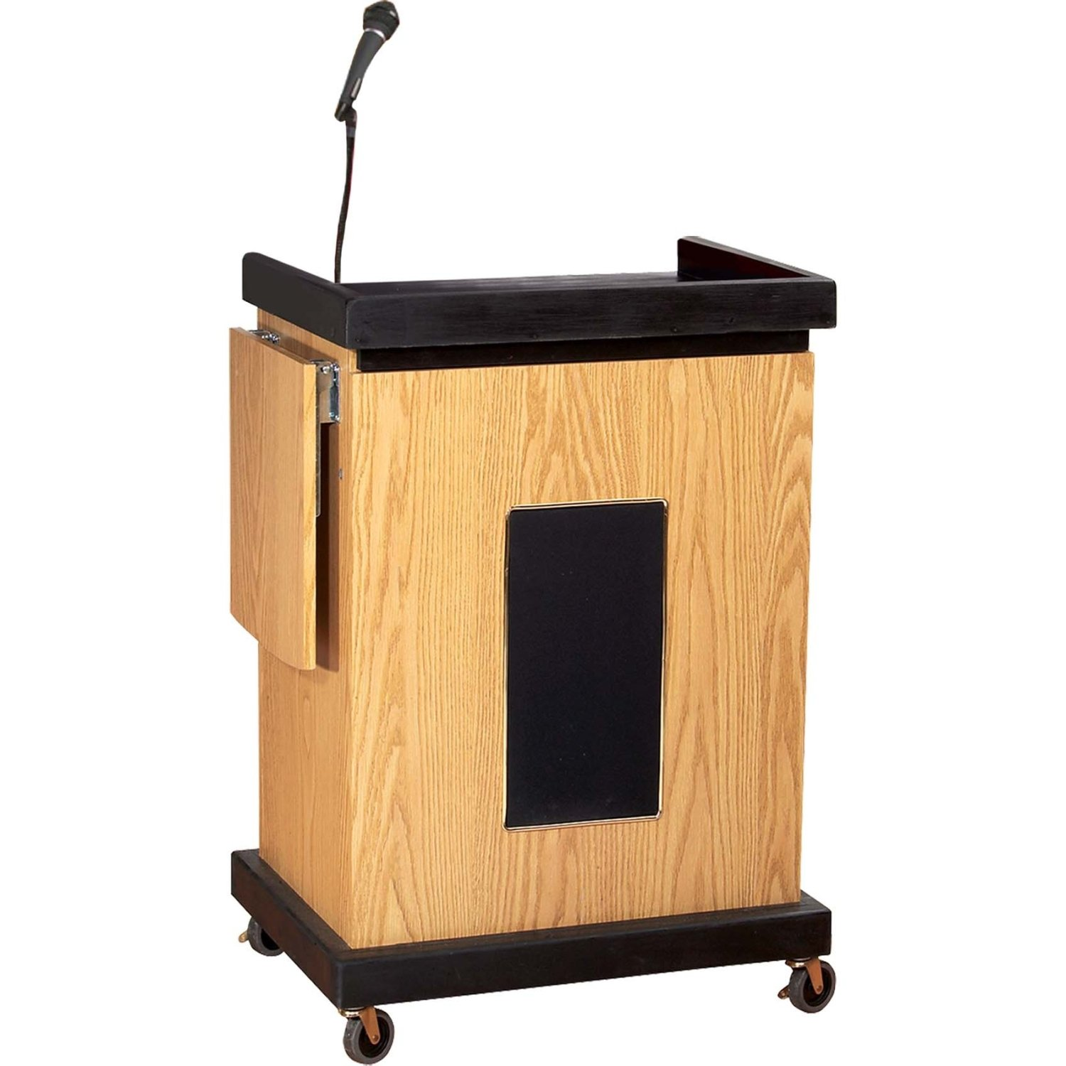 Oklahoma Sound SCL-S-OK Smart Cart Lectern with Sound, 28 Width x 41 Height x 21 Depth, Light Oak