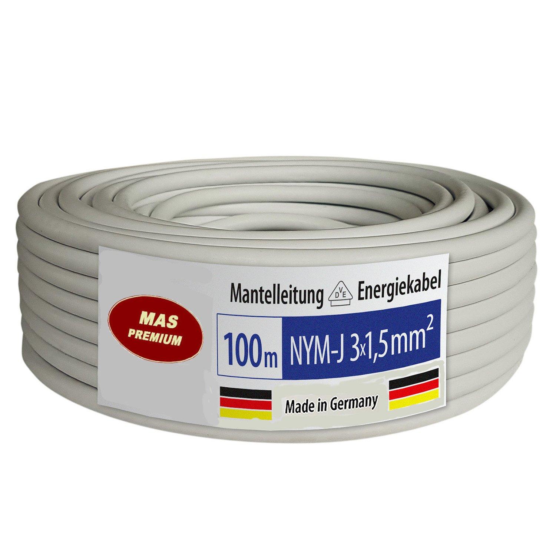 Mantelleitung Stromkabel Elektrokabel OFC Kupfer 100m NYM-J 3x1,5 ...