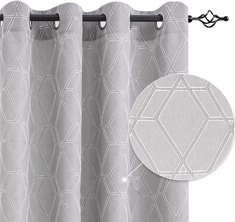 Window Curtains Living Room Grey 63 inch Curtain Panels Jacquard Contemporary Lattice Grommet Window Treatment Set Bedroom Drapery Drapery 1 Pair