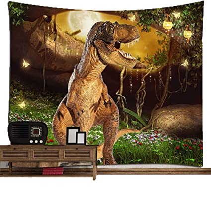 H&RB Dinosaurio Europeo Y Estilo Americano Ronda Toalla Baño Toalla Chal Tapiz,2Pack,200X150cm