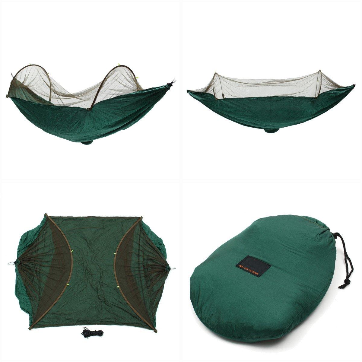 LaDicha 290X145Cm Haltbar Camping Hanging Hängematte Bett Moskito Schlafendes Zahnrad Mesh Gaze Schutz - Schwarz Grün