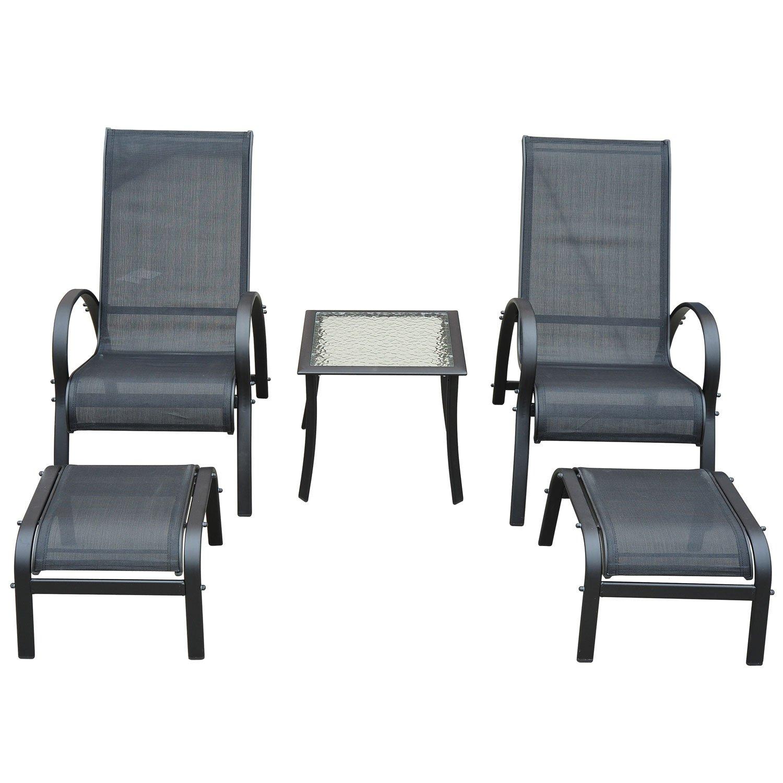 Outsunny Garden Patio Outdoor Lounger 5 pcs Set reclined Chair