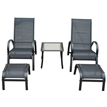 Outsunny Garden Patio Outdoor Lounger 5 Pcs Set Reclined Chair Coffee Table  Footstools Aluminium Frame Black