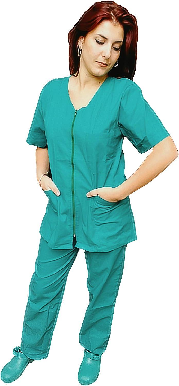 Petersabitidalavoro Divisa Completa Infermiere da Donna Verde con Zip Sanitaria OSS da Lavoro per Ospedale ESTETICA