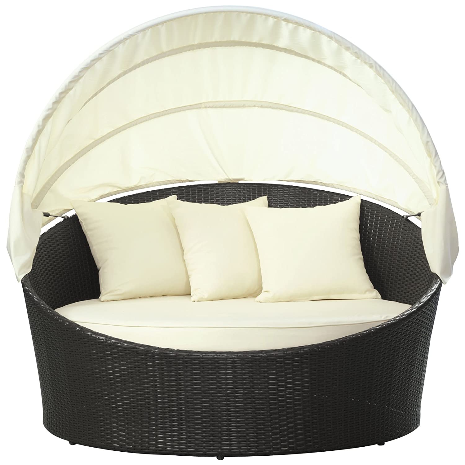 Amazon Modway Siesta Outdoor Wicker Patio Canopy Bed In Espresso With White Cushions Furniture Garden