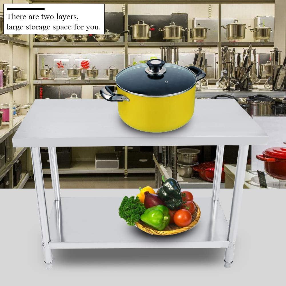 pour lentr/ée de Fournitures de Cuisine et op/érations industrielles 61X61X85CM Hauteur r/églable Double Couche Cuisine Catering en Acier Inoxydable Table de Travail de Cuisine Professionnelle