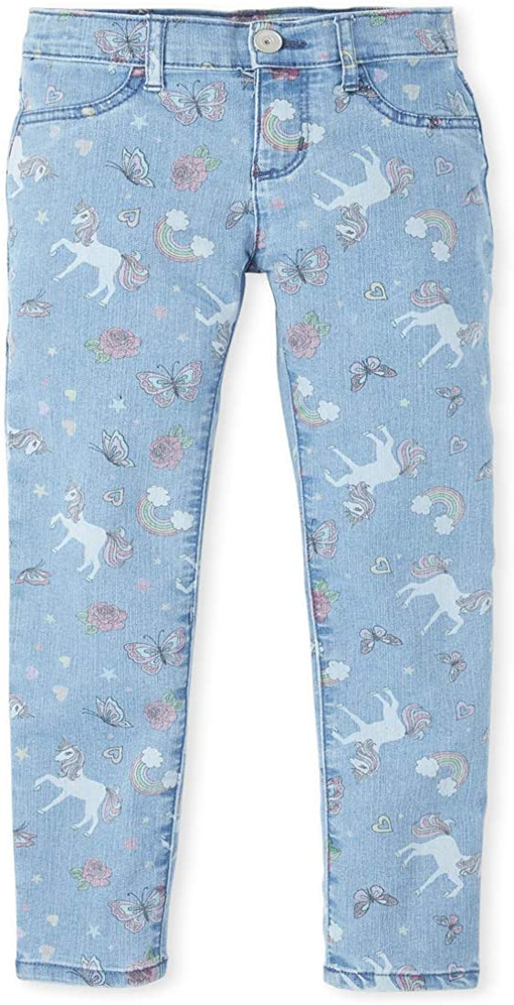 The Childrens Place Girls Baby and Toddler Print Denim Jeggings