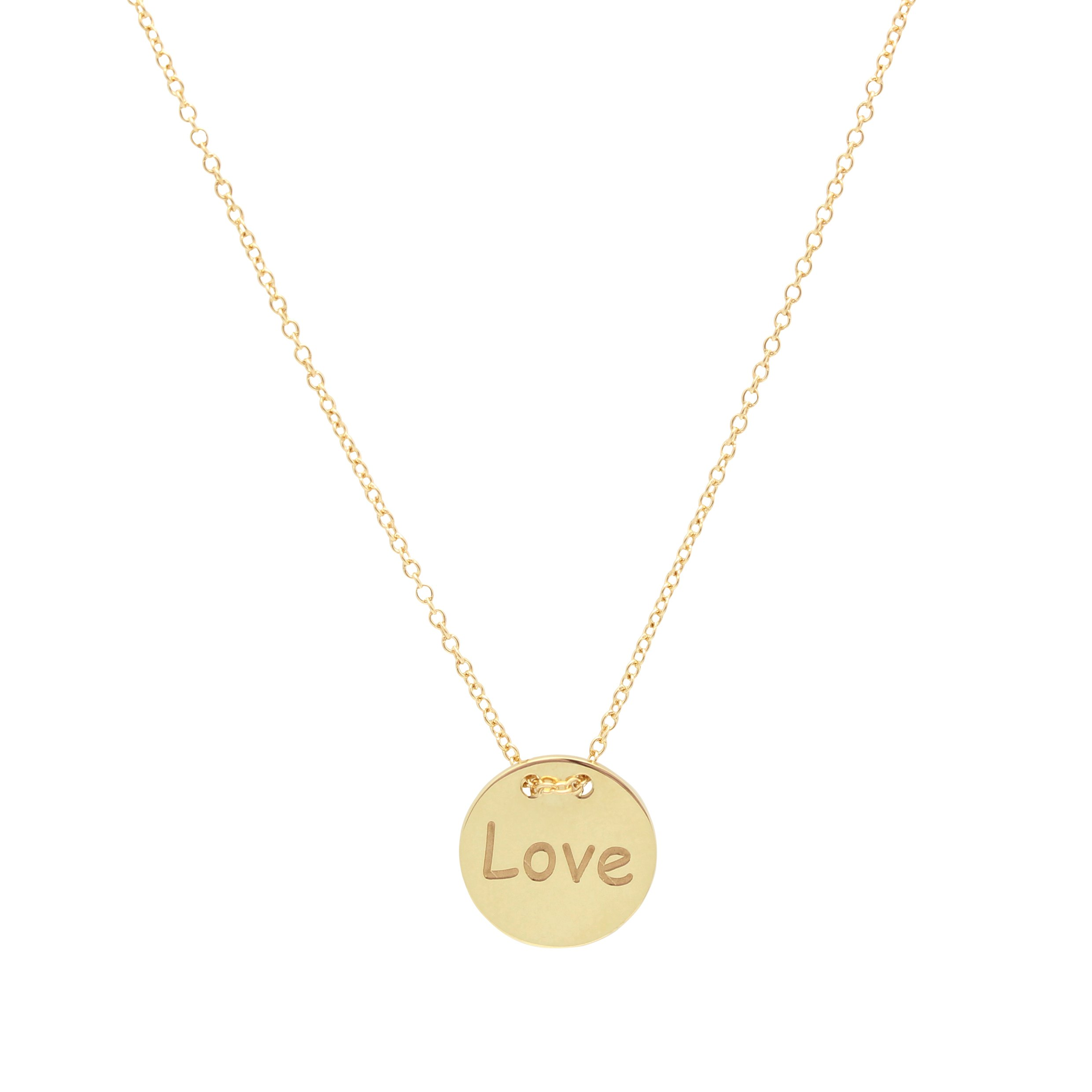 UNICORNJ Adult Tweens Teens 14k Yellow Gold Polished Disc Love Pendant Necklace 16'' Italy