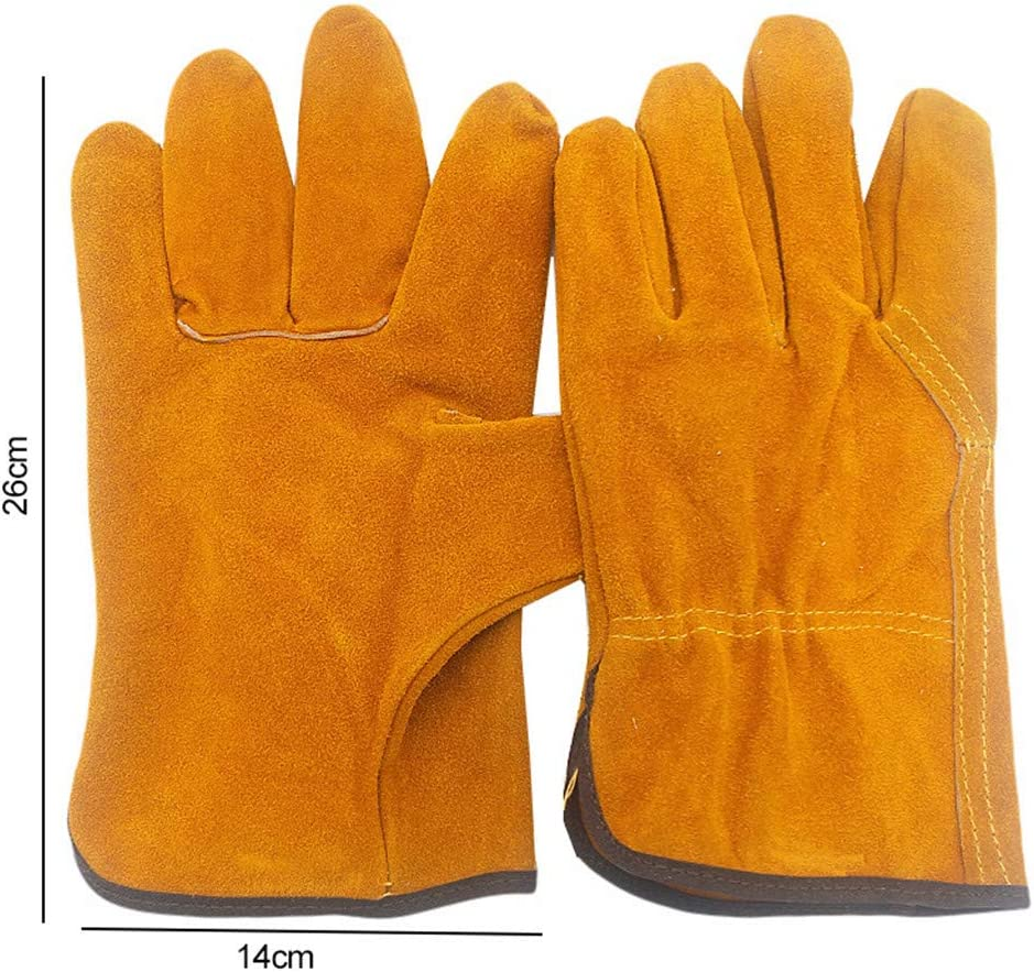 Welding Gloves fireproof Anti-heat,spark safety gloves Leather Forge Welding Gloves 1pair brown