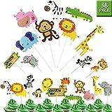 GuassLee Jungle Safari Animal Cupcake Toppers Picks - 38pcs Zoo Animals Cake Decorations Food Picks Animal Theme Party…