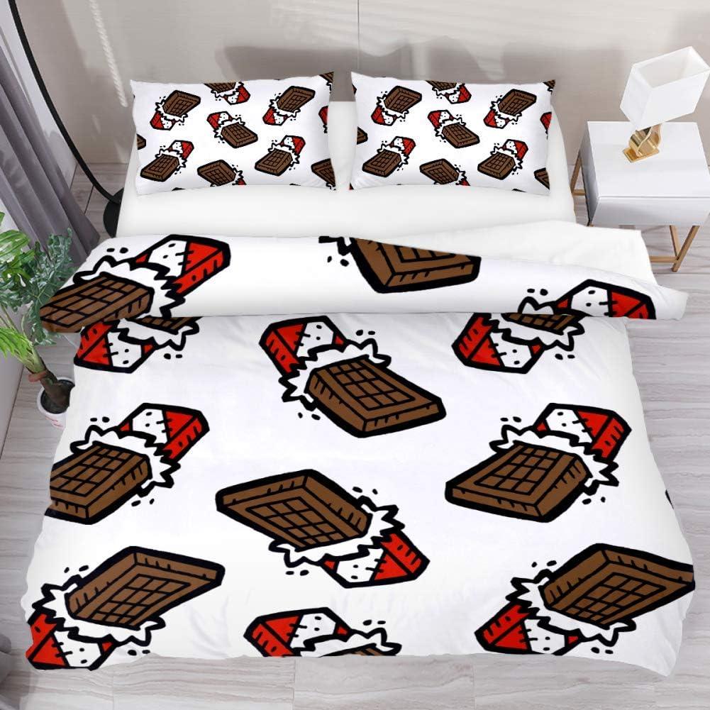 LUCASE LEMON ALEX 3 Pieces Chocolate Bar Cartoon Pattern Duvet Cover Set (1 Duvet Cover + 2 Pillowcases) Extra Long Twin Size Breathable Bedding Sets for Kids Children Girls Boys Teens