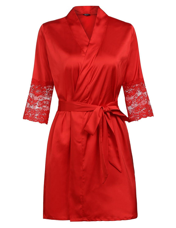 Dark Red MAXMODA Women's Short Kimono Robe Lingerie Bridal Silky Lace Trim Satin Sleepwear 4 color MXXL