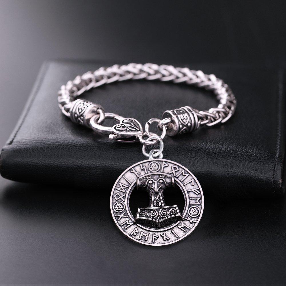 Teamer Bracelets /à breloques Marteau de Thor Mjolnir Viking Marteau Amulette scandinave Pendentif Bracelets Norse Bijoux