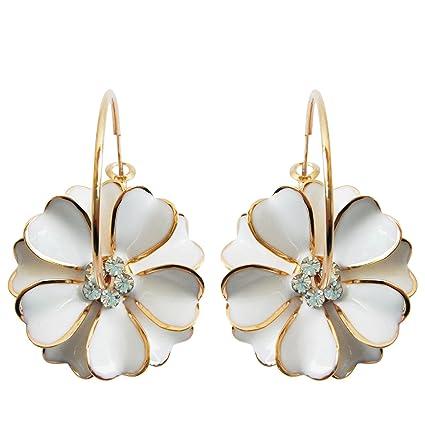 Navachi 18k Gold Plated Enamel Flower Crystal Hoop Earrings(dia. 3cm) PD7d5cWJ