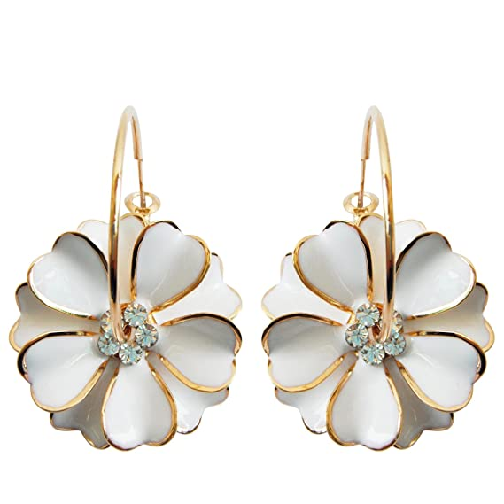 Vintage Style Jewelry, Retro Jewelry Navachi 18k Gold Plated White Enamel Flower Crystal Az2461e Hoop Earrings(dia. 3cm) $9.99 AT vintagedancer.com