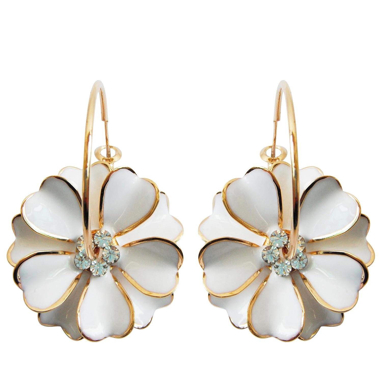 Navachi 18k Gold Plated White Enamel Flower Crystal Az2461e Hoop Earrings(dia. 3cm) BH2461