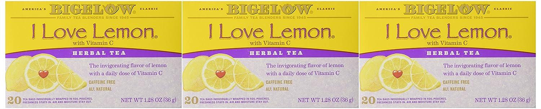 Bigelow Tea Bags, I Love Lemon, 20 Count (pack of 3)