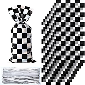 100 Pieces Cellophane Car Candy Bags Black White Checkered Racing Treat Bags Plastic Race Gift Goodie Bags Food Storage Bags for with 100 Pieces Silver Twist Ties for Cars Birthday Party Decorations