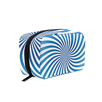 88837f0fc6ce Amazon.com : MAPOLO Blue Spiral Handy Cosmetic Pouch Clutch Makeup ...