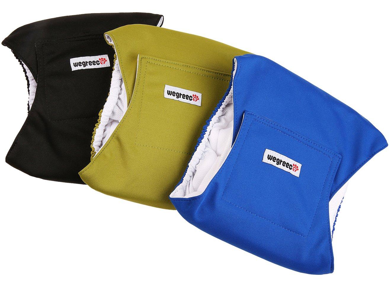 wegreeco Washable Male Dog Belly Wrap - Pack of 3 - (Black,Blue,Olive,XX-Large) by wegreeco