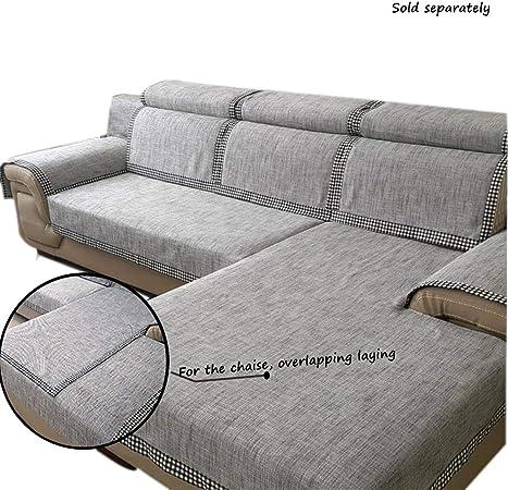 Love House Sabana De Algodon Funda para Sofá Cubre Sofá Color Puro Suave Seccional Cubiertas del Sofá Anti-Sucio Muebles Protector para El Sofá De Forma L-Gris 110x240cm(43x94inch): Amazon.es: Hogar