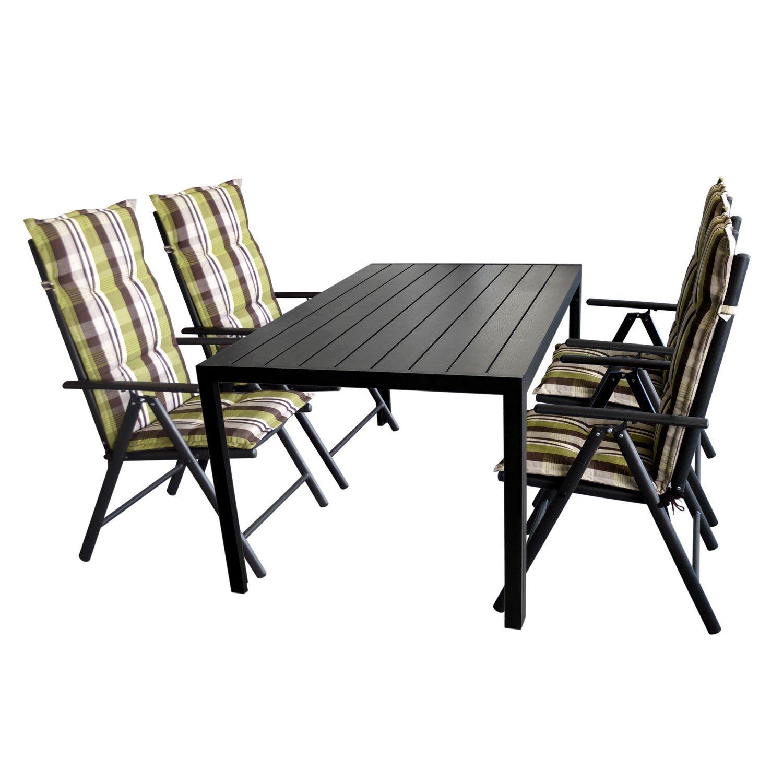 Gartengarnitur Gartentisch, Polywood Tischplatte Schwarz, Aluminiumrahmen, 150x90cm + 4x Hochlehner, Aluminiumgestell, Textilenbespannung Schwarz + 4x Polsterauflage Naxos