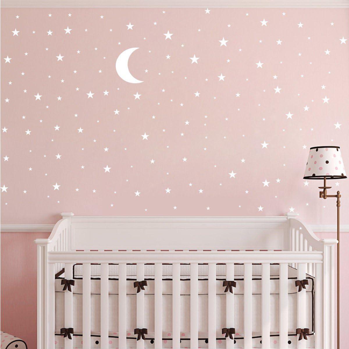 JURUOXIN Moon and Stars Wall Decal Vinyl Sticker for Kids Boy Girls Baby Room Decoration Good Night Nursery Wall Decor Home House Bedroom Design YMX16 Matte Gold
