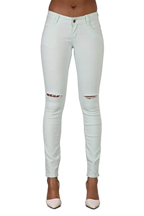 Lusty Chic New Women Sexy Mint Green Knee Ripped Skinny Jeans Pant - Low  Waist Sexy f54c9d9e2