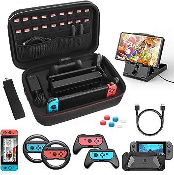 HEYSTOP Kit de Accesorios 12 en 1 para Nintendo Switch, con Funda de Transporte, TPU Cubierta Protectora, Joy-con Grip y Volante, Soporte, Protector de Pantalla, Apretones de Pulgar, Cable USB: Amazon.es: Electrónica