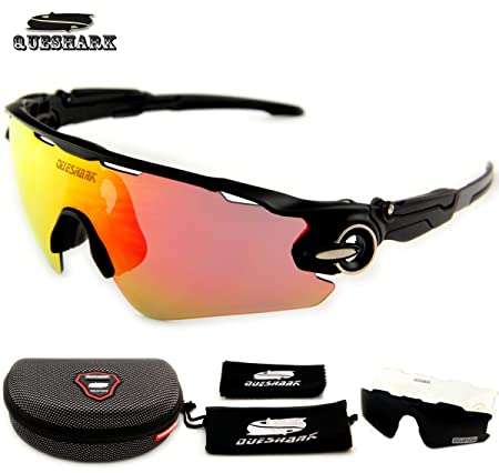 834309500e Generic White   QUESHARK TR90 Frame Polarized UV400 Full Revoed Lens  Cycling Sunglasses Bicycle Glasses 3 Lens  Amazon.co.uk  Kitchen   Home