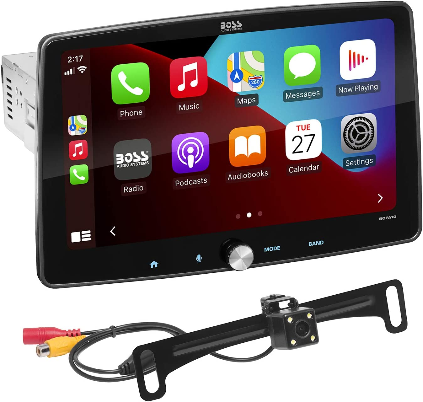 BOSS Audio Systems BCPA10RC Apple CarPlay Android Auto Car Multimedia Player - Single Din Chassis with 10.1 Inch Capacitive Touchscreen, Bluetooth, No DVD, RGB Illumination, Rear Camera Included