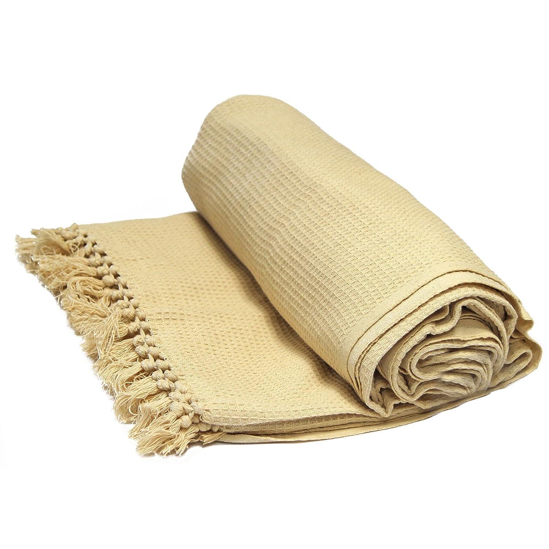 Rapport Honeycomb Cotton Throw Beige Single