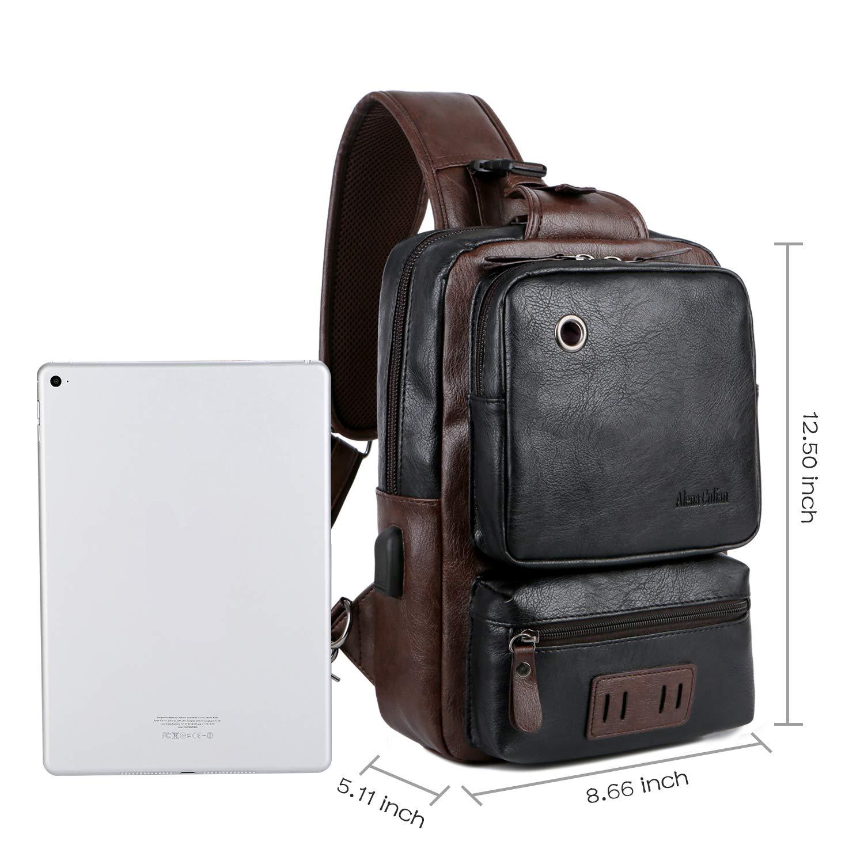 A9909-BR Alena Culian Men Crossbody Bag Anti-theft External USB Charge Patchwork Large Capacity Casual Travel Man Bag Brown