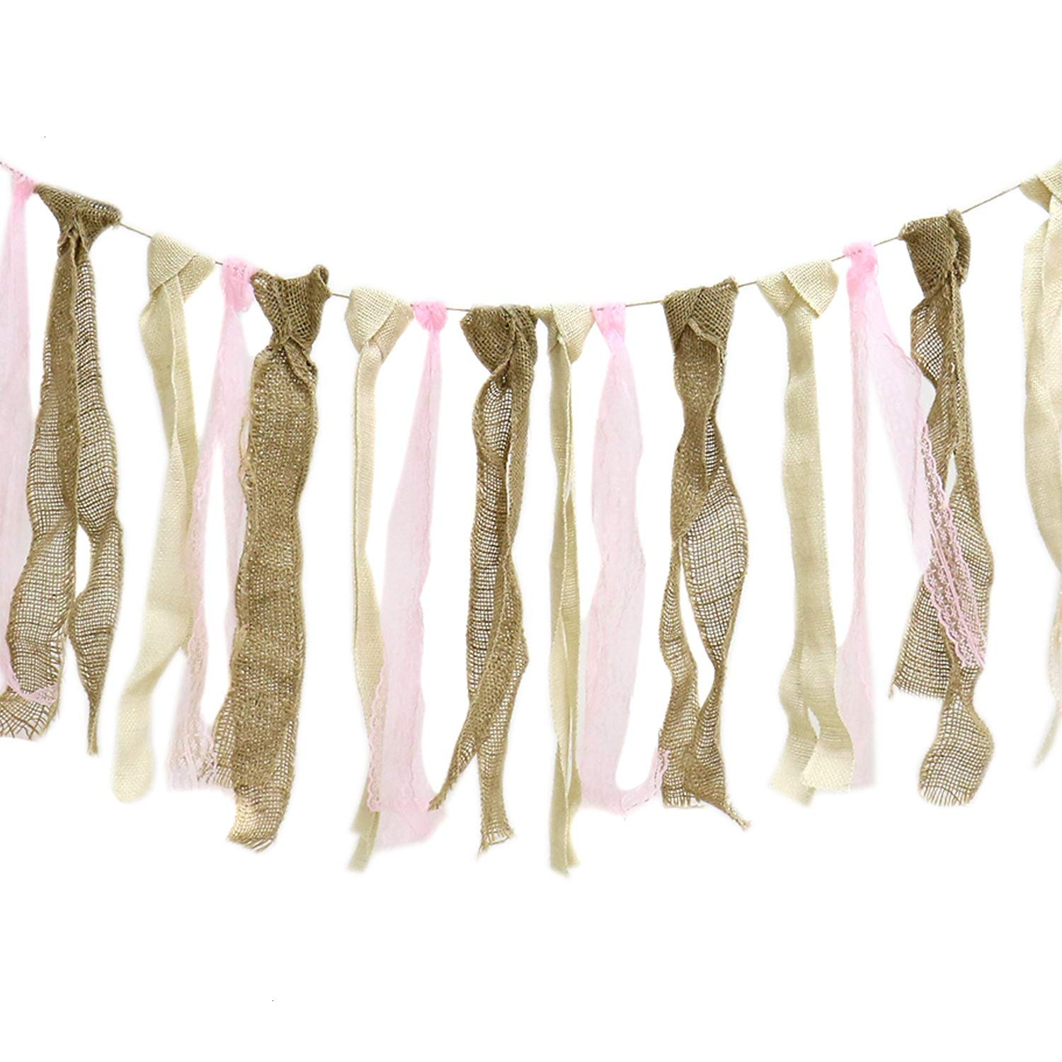 MAISHO 5.2 ft Rustic Burlap Lace Garland Burlap Lace Rag Tie Banner Fall Thanksgiving Decor Rustic Wedding Garland Boho Chic Lace Bunting