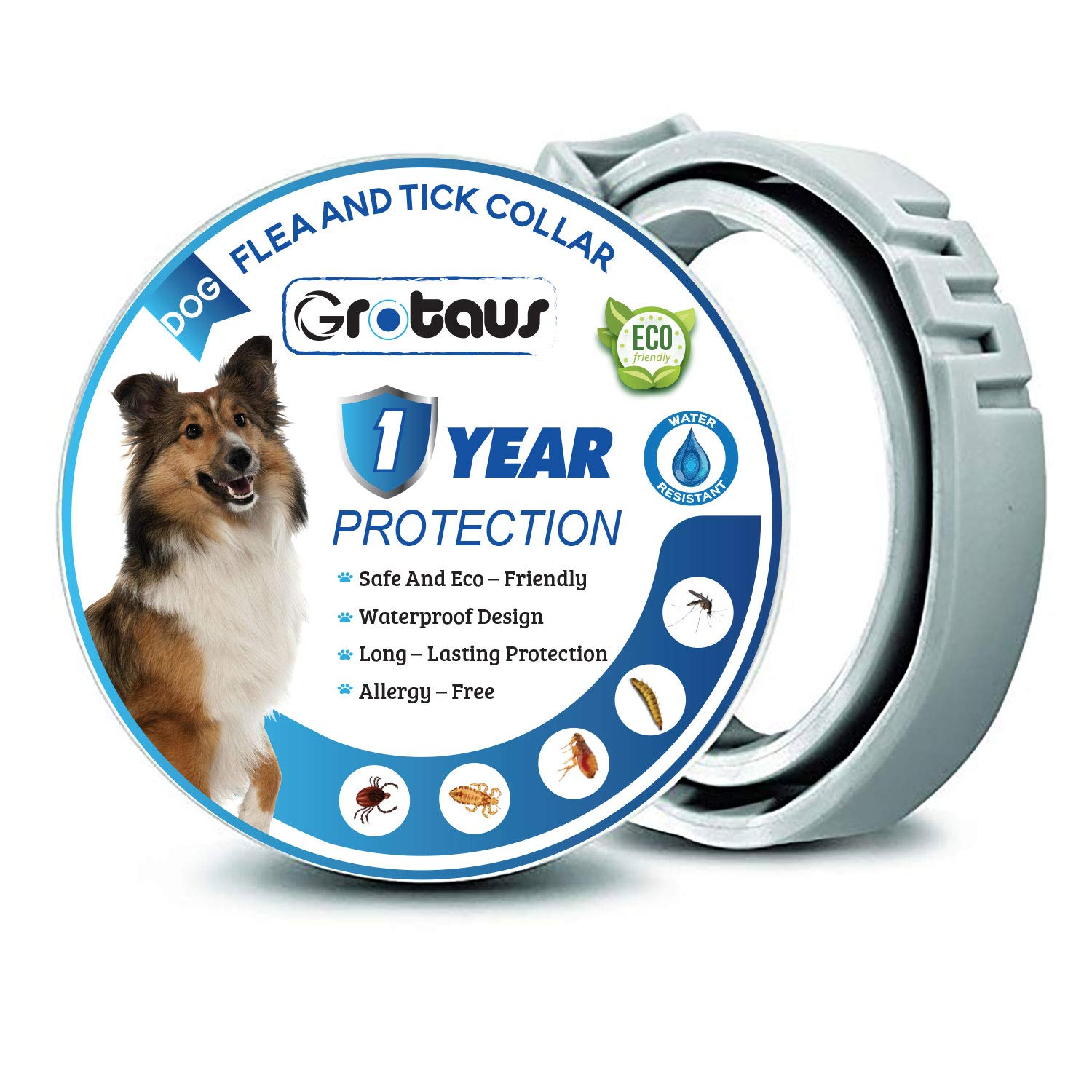 GROTAUS Flea and Tick Collar for Dogs - Safe and Effective Flea and Tick Control Collar for All Dog Sizes - Waterproof, Adjustable and Natural Flea Collar with 12 Months Flea and Tick Prevention by GROTAUS