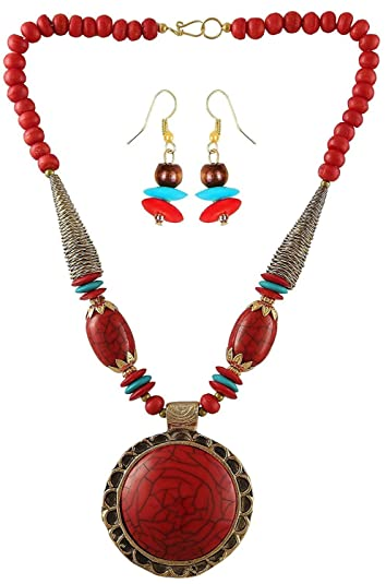 Buy aaritra red brass pendant necklace with earring set for women aaritra red brass pendant necklace with earring set for women girls aloadofball Images