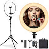 PoplarTrees Ring Light 18'' with Tripod Stand 65W, 3 Light Mode Remote Control 3200-5500K Dimmable CRI 95, Makeup Photography