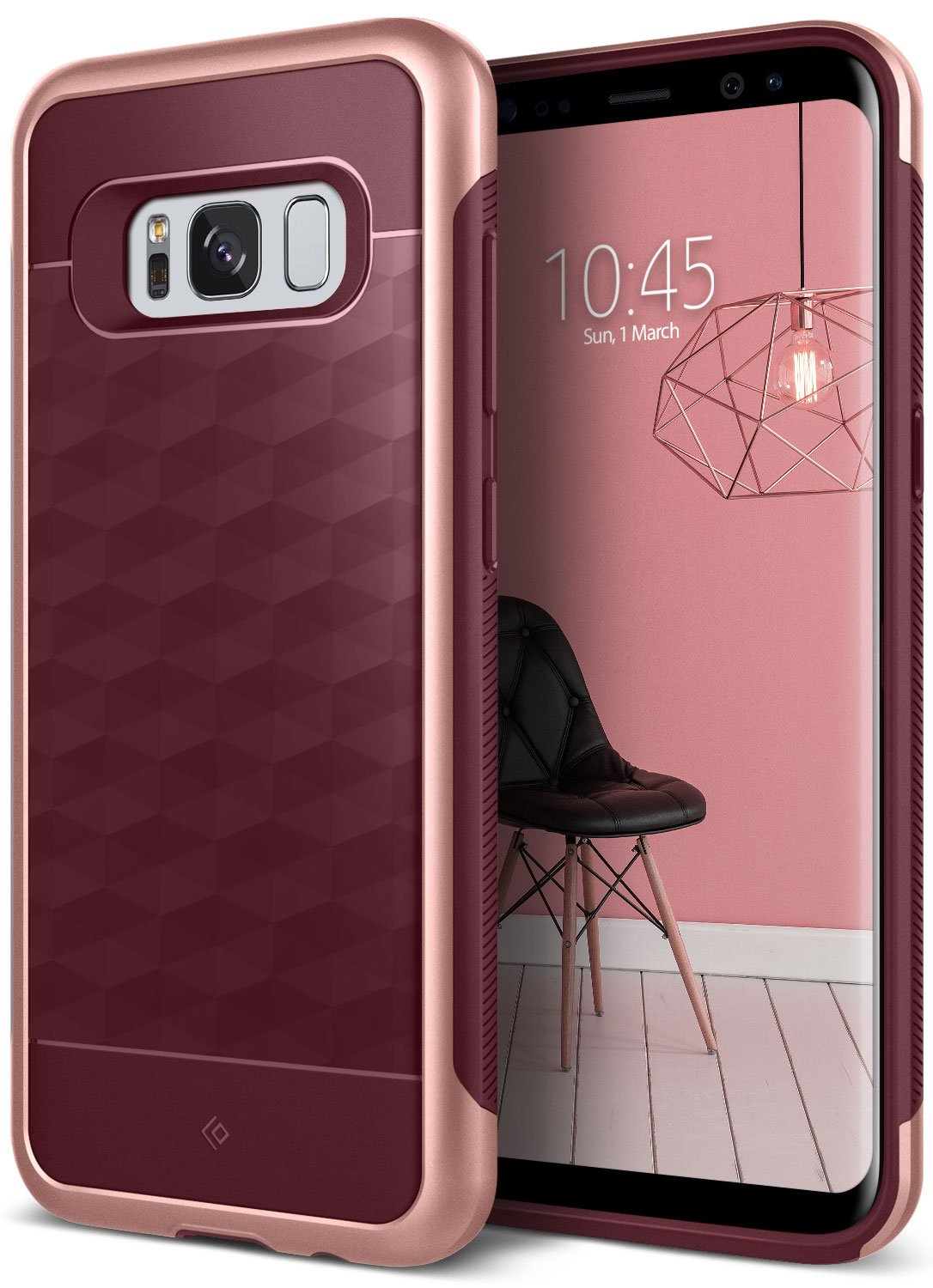 Galaxy S8 Case, Caseology [Parallax Series] Slim Dual Layer Protective Textured Geometric Cover Corner Cushion Design for Samsung Galaxy S8 (2017) - Burgundy