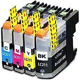 LC211-4PK 【 お徳用 4色パック 】 brother 互換 インクカートリッジ ブラザー LC211   DCP-J963N   DCP-J962N   DCP-J762N   DCP-J562N   MFC-J880N   MFC-J990DN   MFC-J900DN   MFC-J830DN   MFC-J730DN   MFC-J990DWN   MFC-J900DWN   MFC-J830DWN   MFC-J730DWN   インク ( LC211BK 黒 顔料 ブラック / LC211C シアン / LC211M マゼンタ / LC211Y イエロー )