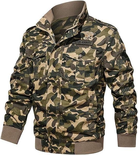 カモフラージュ ミリタリーコート ジャケット メンズ 防寒 L-6XL ツーリング フライトジャケット ルーズ 大きいサイズ カジュアル刺繍バッジ 迷彩柄 作業着 防風 アウトドア ブルゾン アウトドア