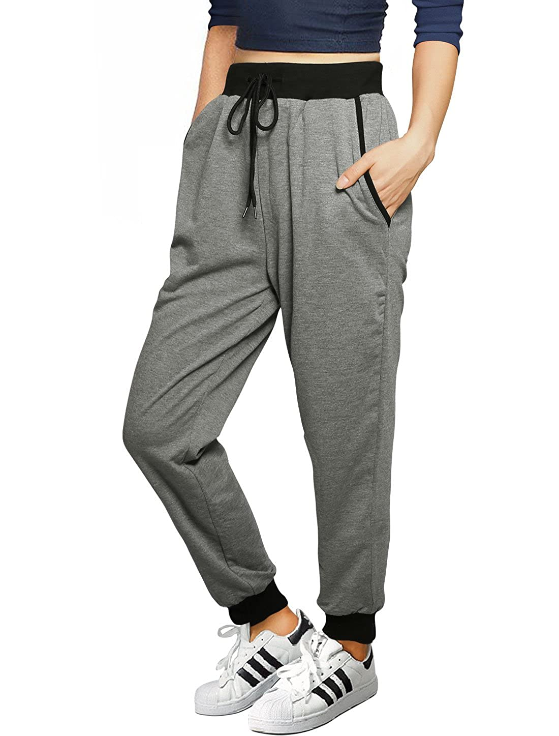 Allegra K Women's Back to School Drawstring French Terry Jogger Pants g15081000ux0037