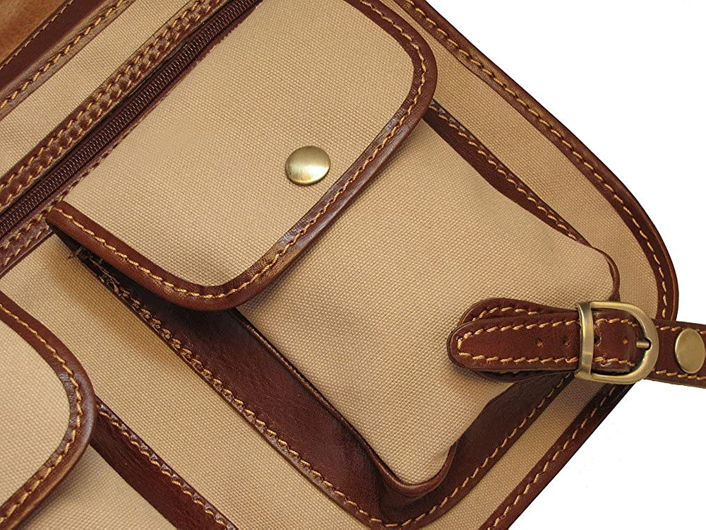 Floto Poste Messenger Bag in Canvas with Brown Leather Trim