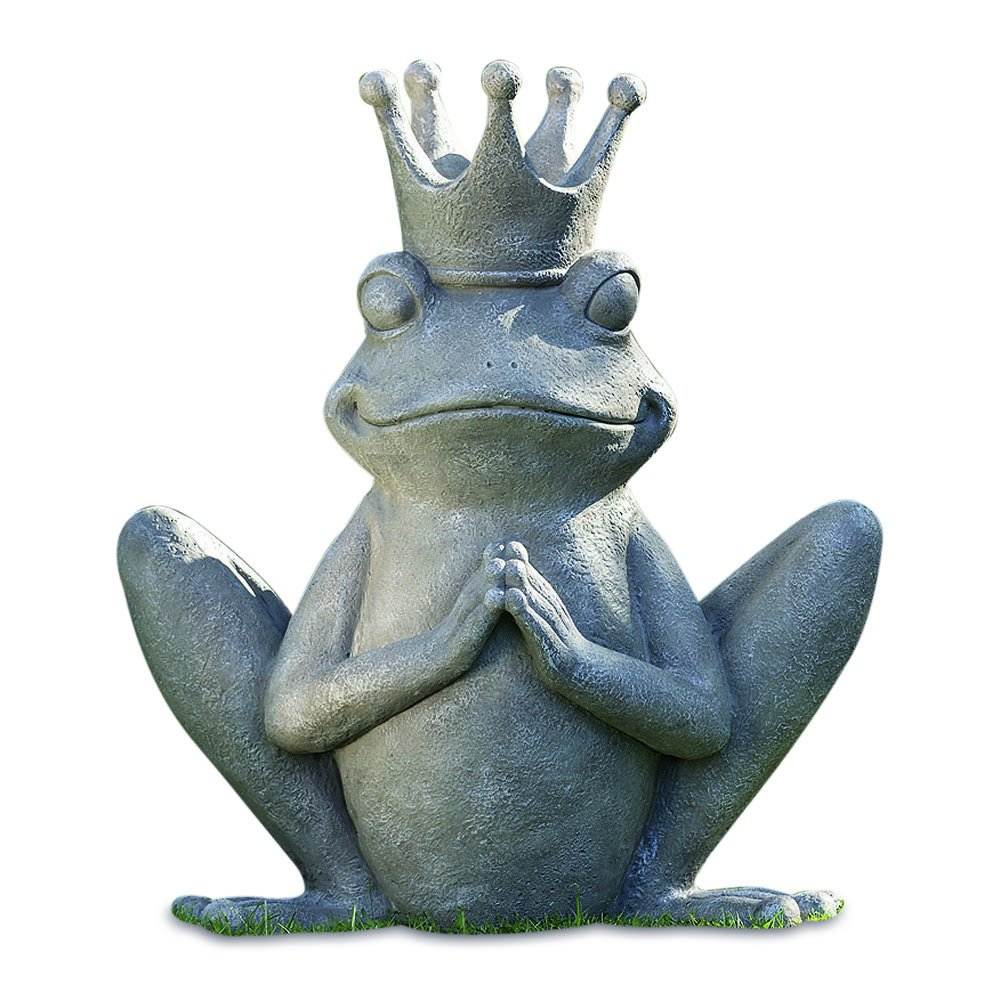 The Yogi Frog Prince Garden Statue, Rustic Gray, Stone Textured Patina, Hand Cast Magnesia, Approx 3 Ft Tall, Indoor or Outdoor Use, Weather Resistant, By Whole House Worlds