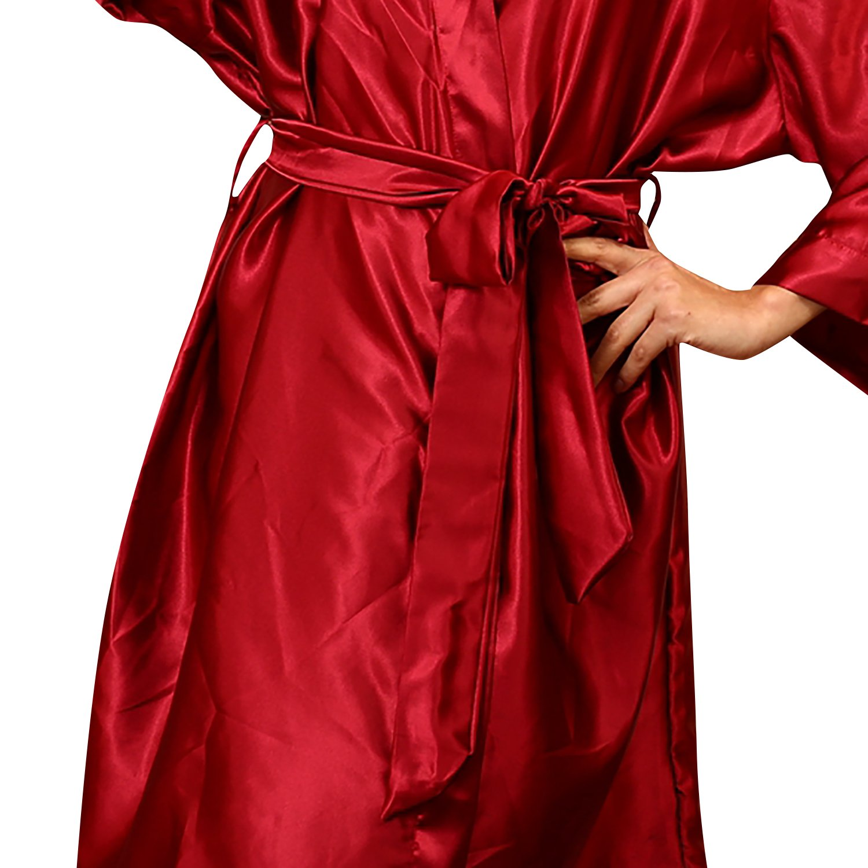 51,97 Zoll Satin Nachtw/äsche Bademantel Robe Kimono Negligee Seidenrobe Locker Schlafanzug B/üste 132cm Dolamen Unisex Damen Herren Morgenmantel Kimono gro/ße Gr/ö/ße f/ür Alle