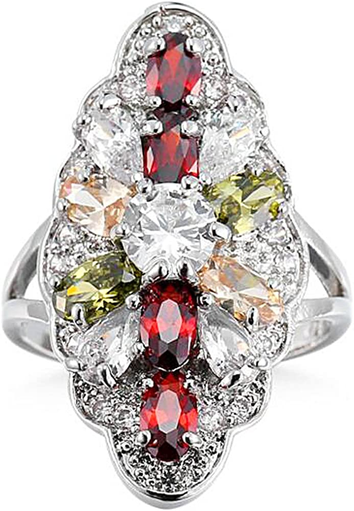 XAHH Jewelry 925 Sterling Silver Plated Multicolor Gemstone Filled Large Ring for Girl Women