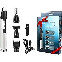Babacom Cortapelos Nariz y Orejas, 4 en 1 USB Recargable Grooming Set para Nariz/Orejas/Ceja/Barba, Multifuncional…