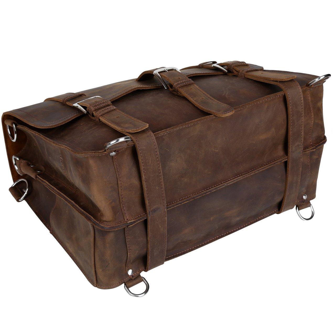 BAIGIO Vintage Leather Luggage Backpack Briefcase Travel Carryon Shoulder Bag (Dark Brown) by BAIGIO (Image #7)