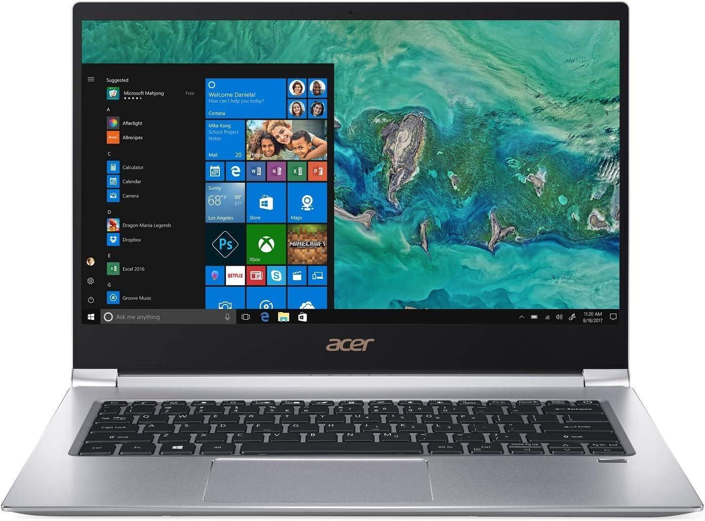 "Acer Swift 3 SF314-55G-78U1 Laptop, 8th Gen Intel Core i7-8565U, NVIDIA GeForce MX150, 14"" Full HD, 8GB DDR4, 256GB PCIe SSD, Gigabit WiFi, Back-lit Keyboard, Windows 10 (Renewed)"