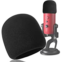 Foam Microphone Windscreen - YOUSHARES Mic Cover Pop Filter for Blue Yeti Yeti Pro Condenser Microphones (Black)