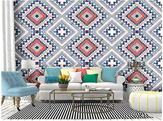Amazon Com Skiwamural Self Adhesive Wallpaper Roll Paper Abstract Ethnic Geometric S Colorful Design For Or Removable Peel And Stick Wallpaper Decorative Wall Mural Posters Home Covering Interior Film Home Kitchen